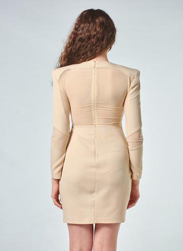 Coral  Uzun Kollu Elbise Bej